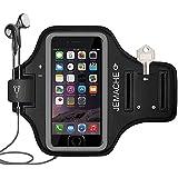 iPhone 7 Brazalete,JEMACHE Dactilares Touch Apoyo Exclusivo Running Pasear Ejercicio Gimnasio Deportivo Brazo Banda Armband para iPhone 6/6S/7 (Negro, iPhone 7)