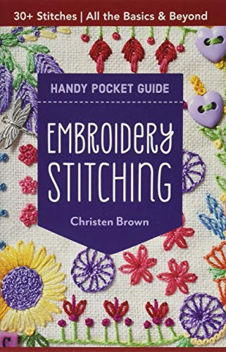 Embroidery Stitching Handy Pocket Guide: All the Basics & Beyond, 30+ Stitches (Handy Pocket Guides) Brown Handy