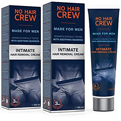 2 x NO HAIR CREW Premium Intimate Hair Removal Cream - extra smooth Hair Removal for Men - Set of 2-200ml from Trebeo