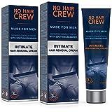 2 x NO HAIR CREW Crème dépilatoire intime pour hommes,...
