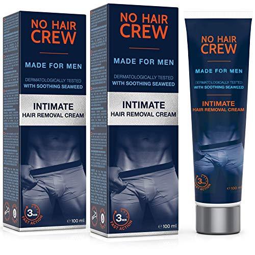 2 x NO HAIR CREW Premium Enthaarungscreme für den Intimbereich - extra sanfte Haarentfernung für Männer, 2er Set 200ml