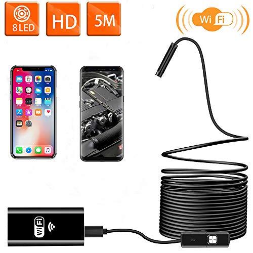 Oyrlize WiFi Endoskopkamera USB Endoskop Kabelloses Inspektionskamera 2.0MP 1080P HD Drahtlose Boreskope 2 in 1Flexible Schlange Kamera wasserdichte mit 8 LED für iOS Android iPhone Windows-16.4ft/5M -