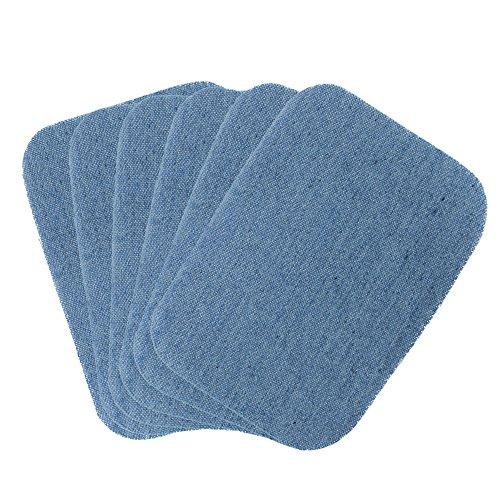 COM-FOUR® 6x Bügelflicken aus 100% Baumwolle, Jeans-Flicken in blau, 10 x 7,5cm (06 Stück - blau)