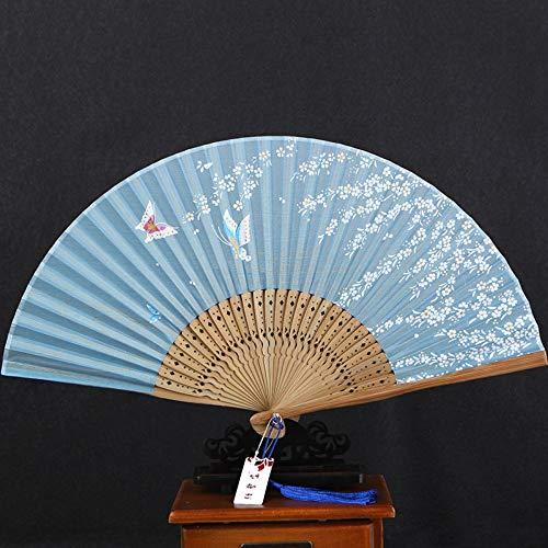 XIAOHAIZI Handklappventilator,White Flower Butterfly,Light Blue Hollow Summer Folding Fan Chinese Classical Ladies Wall Decoration Dance Fan (Für White Lady-kostüm Kinder)