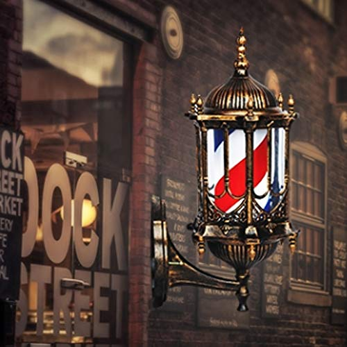 Retro Hair Salon Turn Leuchten LED Hängende Wand Salon Logo Lichter European Barber Shop Beauty Roman Palace Turn Light Box Retro LED Barber Pole Light,A