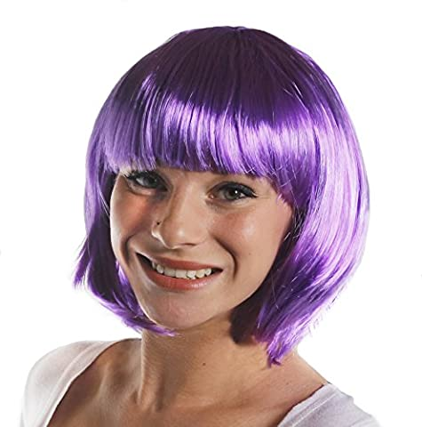 BOB WIG FANCY DRESS ACCESSORY LADIES 20'S FLAPPER PARTY HAIR SEXY COSPLAY SHORT BABE WIG IN MANY COLOURS (DARK PURPLE)