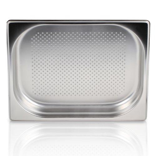 Greyfish GN Behälter :: gelocht :: für Gaggenau  Miele  Siemens Dampfgarer (Edelstahl  Spülmaschinentauglich, Gastronorm 12, B 32,5 x T 26,5 x H 4,0)