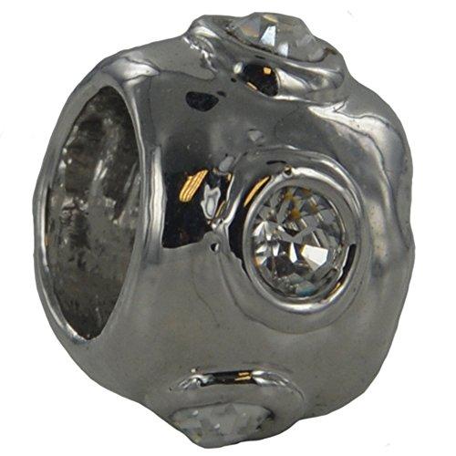 Quiges - 6mm Rhodium Slide-on Charm Anhänger Blasen passt auf Charm (Passt Blase)