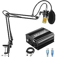 Neewer NW-800 Kit de Micrófono de Condensador con Fuente de Alimentación Fantasma USB 48V,NW-35 Soporte de Brazo de Suspensión,Montaje de Choque,Filtro de Pop para Grabación de Estudio(Negro y Oro)