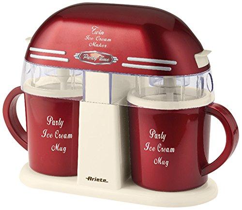 Ariete 631 twin ice cream maker macchina per gelato con doppia tazza, capacità 800 ml totali, prepara 2 gusti diversi contemporaneamente, tempo di preparazione 20-30 min, rosso/bianco