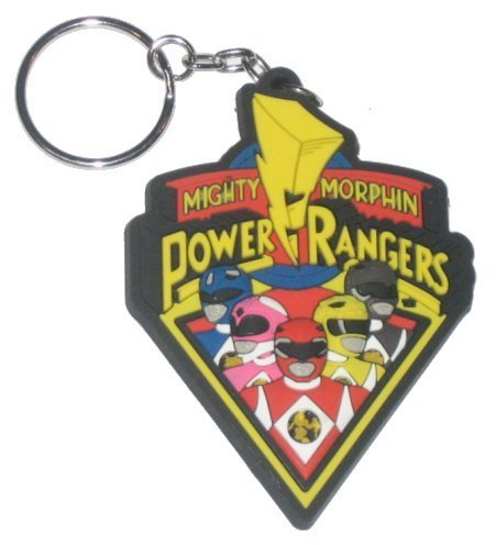 """Mighty Morphin Power Rangers, Cast, 3"""" X 2"""", Officially Licensed - Die-Cut key chain portachiavi - American Action Adventure TV Show Mighty Morphin Power Rangers keychain portachiavi"""