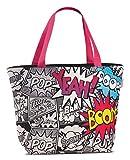 Pop-Art Design Tasche XL Strandtasche schwarz Badetasche coole Umhängetasche im Comic-Style