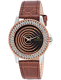 Swisstone VG520CP-BLK-BRW Black Dial Brown Leather Strap Analog Wrist Watch For Women/Girls