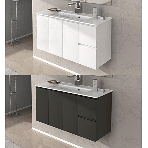 Mobile arredo bagno omega da 100 cm sospeso con lavabo ceramica bianco lucido grigio talpa