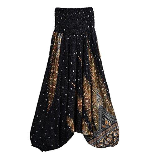Leggings Femmes Amlaiworld Femmes Décontractée Pantalon à Pattes Larges Pantalons de Yoga en Vrac Baggy Boho Jumpsuit Sarouel (Taille libre, Noir)