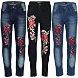 A2Z 4 Kids Kids Girls Stretchy Jeans Designer's Roses Embroidered Denim Pants Fashion Fit Trousers Jeggings New Age 3 4 5 6 7 8 9 10 11 12 Years