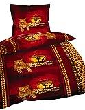 2 tlg. Bettwäsche 155 x 220 cm in rot/gelb aus Microfaser Gestreift Leopard Afrika Übergröße