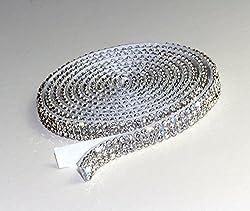 Crystal Mesh Rhinestones SS6Border Self-Adhesive Width, 1.15m Long Chaton Crystal, 3reihig / 7mm x 1150mm
