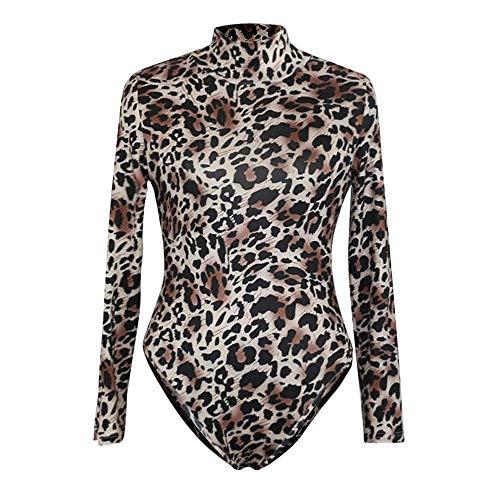AMUSTER Damen Bodysuit Bodycon Langarm Body Shirt Jumpsuit Basic Romper Rollkragen Leopard Druck Clubwear Damen Schlank Body Outfit Romper Bodysuit Bluse