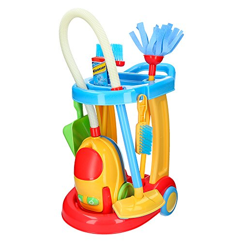 Playgo - Carrito limpieza & aspirador eléctrico ColorBaby