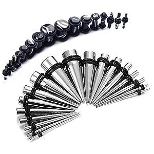 36-teiliges Konus-Set aus Stahl und Marmor-Stecker 1,6 mm – 10 mm (14Gauge – 00Gauge) Konus- / Dehnungsstifte-Kit, 36-teiliges Starter-Set