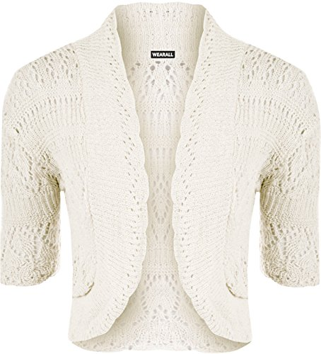 (F F 11) New Damen Crochet gestrickt kurz Sleeve Damen Bolero Cardigan Top mit Gr. 44-46, weiß (Crochet Cardigan Knit)
