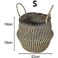 Canasta de almacenamiento manual plegable Canasta de lavandería Estilo nórdico de color natural algas tejidas cesta de la compra cesta de la flor cesta