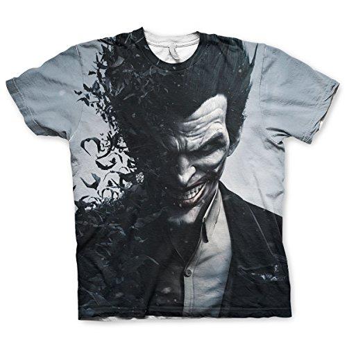 Offizielles Lizenzprodukt Batman - Arkham Origins Joker Allover T-Shirt (Mehrfarbig), Medium (Batman Arkham Origins Joker Kostüm)