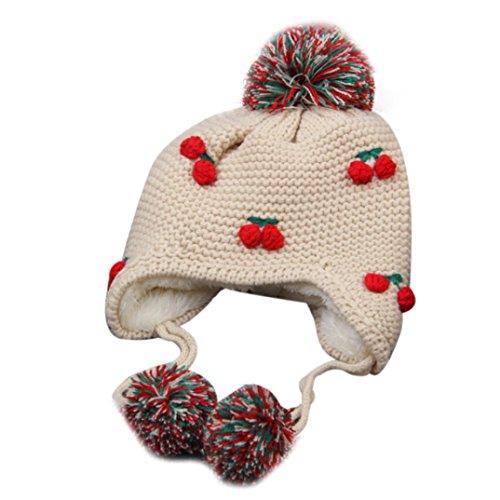 Mädchen Kinder-baseball-jersey (Babybekleidung Hüte & Mützen Longra Baby Kinder Mädchen Winter Earflap Pfirsich Kinder Mütze stricken Hüte kalt Cap Warm (12-72 Monate ) (Beige))