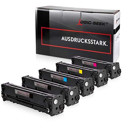 5 Logic-Seek Toner kompatibel zu HP CF210X CF211A CF212A CF213A für HP Laserjet Pro 200 M276nw e-All-in-One, Laserjet Pro200 M251n - 131A, 131X - Schwarz je 2.400 Seiten, Color je 1800 Seiten