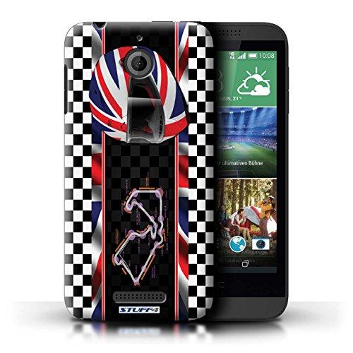Kobalt® Imprimé Etui / Coque pour HTC Desire 510 / Hongrie/Budapest conception / Série F1 Piste Drapeau UK/Silverstone