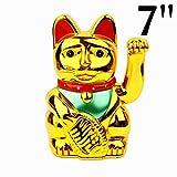 Feng Shui cinese fortunato ondeggiamento oro Gatto figura con lo spostamento del braccio in scatola colorata