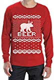 BEAR + DEER = BEER -- Witziger Weihnachtspulli Langarm T-Shirt Large Rot