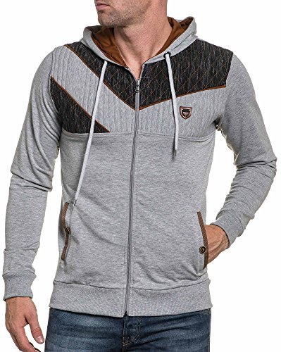 BLZ jeans - Cardigan Pullover grau und schwarz mit Kapuze Mann Grau