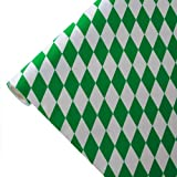 JUNOPAX 50m x 1,00m Papiertischdecke Raute weiß-grün | nass- und wischfest