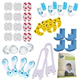 LCV Kit de Seguridad para Bebé en Casa - 35 Piezas | 12 Protectores de Enchufes para Bebés, 8 Protector de Esquinas, 10 Cerraduras para Armarios y Nevera, 4 Topes para Puertas + Guía Anti-Accidentes