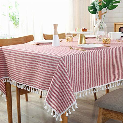 SONGHJ Einfache Tischdecke Einfache gestreifte Tischdecke aus Baumwolle und Leinen mit Fransen Dekoration Tischdecken A 60x60cm