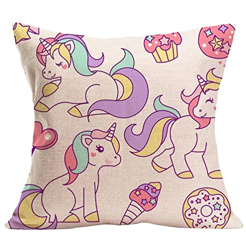 Jiacheng29 Unicorn Print Decorative Pillow Case Waist Throw Cushion Cover Sofa Car Decor