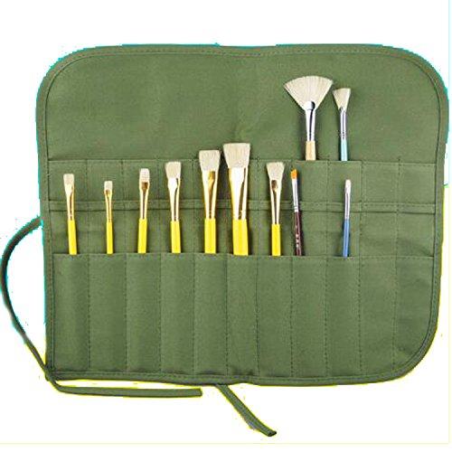 22 fessura porta pennelli da pittura per riporre i pennelli per tempere rotolo di tela color verde militare [Dimensione: 40x33...