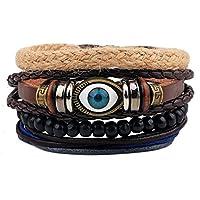 HOUSWEETY Men's Women's Genuine Leather Cuff Wrap Bracelet