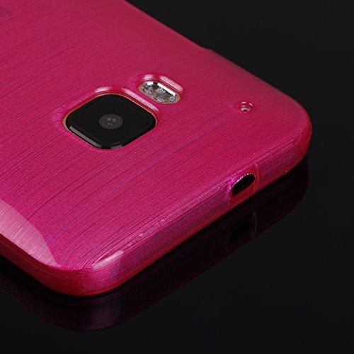 EGO® Brushed Silikon Case für HTC One M9, durchsichtig Handy Tasche Metallic Effect Cover Schutz Hülle Pink Transparent