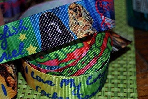 Ribbon Queen 2m x 22mm Cocker Spaniel Hunde Ripsband für Geburtstag Kuchen Geschenkpapier Haar Bögen Karten Craft Schnürsenkel in Verpackung Markenlogo