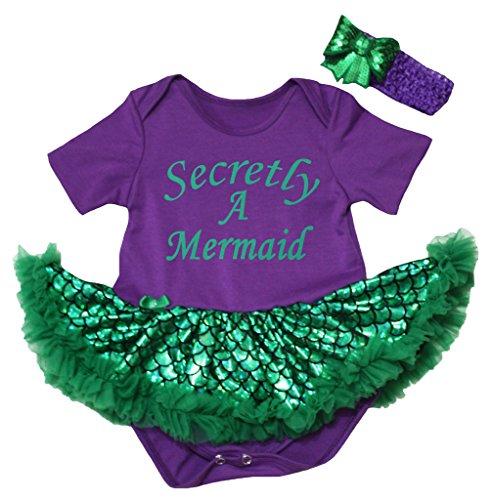 Petitebelle Secretly A Mermaid Purple Bodysuit Green Scale Tutu Nb-18m (3-6 ()