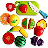 #7: ArtToys Realistic Sliceable Fruits Or Vegetables Cutting Play Kitchen Set Toy (7 pcs Set) with Various Fruits Or Vegetables,Knife,Plate and Cutting Board for Kids,Random Set