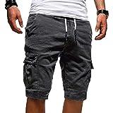 Tomwell Uomo Pantaloni Corti Bermuda Cargo Pantaloncini Uomo Cotone Lavoro Pantaloni Tasconi con Elastico Pantofole Estive Casual Pantaloncino Sportivi Grigio Scuro XXX-Large