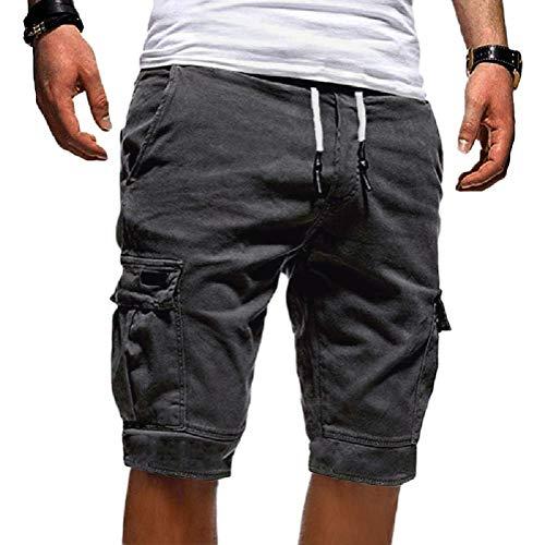 Tomwell Uomo Pantaloni Corti Bermuda Cargo Pantaloncini Uomo Cotone Lavoro Pantaloni Tasconi con Elastico Pantofole Estive Casual Pantaloncino Sportivi Grigio Scuro X-Small