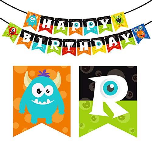 KREATWOW Monster Bash - Monster Birthday Banner - Happy Birthday Brief Bunting für Partydekorationen