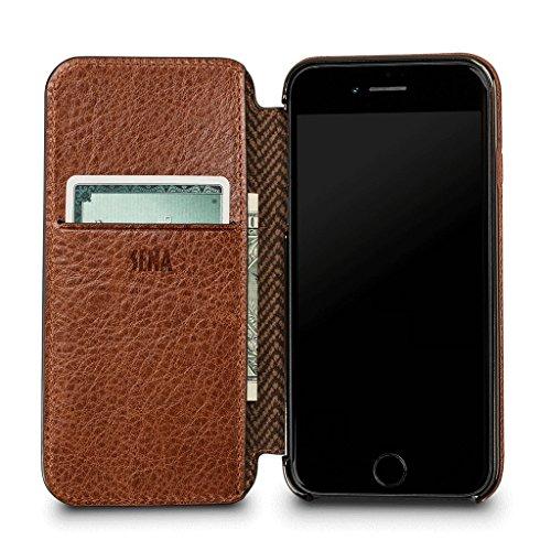Ultra Dünnes WalletBook Leder Schutzhülle für iPhone 8/7, Cognac Walletbook Case