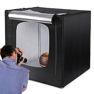 Amzdeal Fotostudio 80x80cm Lichtzelt mit LED Beleuchtung, Lichtwürfel für Professionelle Fotografie inkl. 3 Hintergründe (weiß, schwarz, orange)