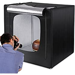 "Amzdeal Photo Studio 80 x 80 x 80cm(32"") Tente Lumineuse 4000LM avec 2 Bandes LED 5500K + 3 Fonds Anti-rides (Blanc, Noir, Orange) et Base Argente + Sac de Transport, Boîte de Lumiere Portable Pliable"